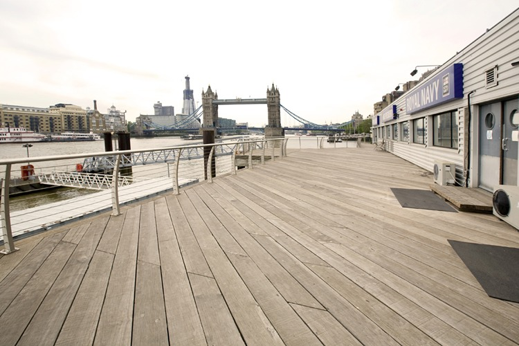 HMS president, Tower Hill London venue decking and pontoon facing Tower Bridge