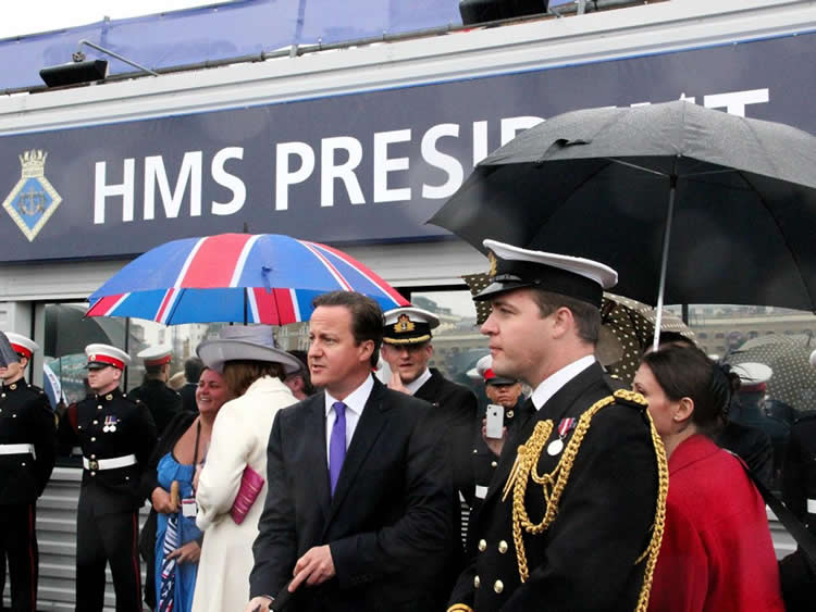 David Cameron at HMS president Tower Hill, St. Katherine's Docks, London Venue