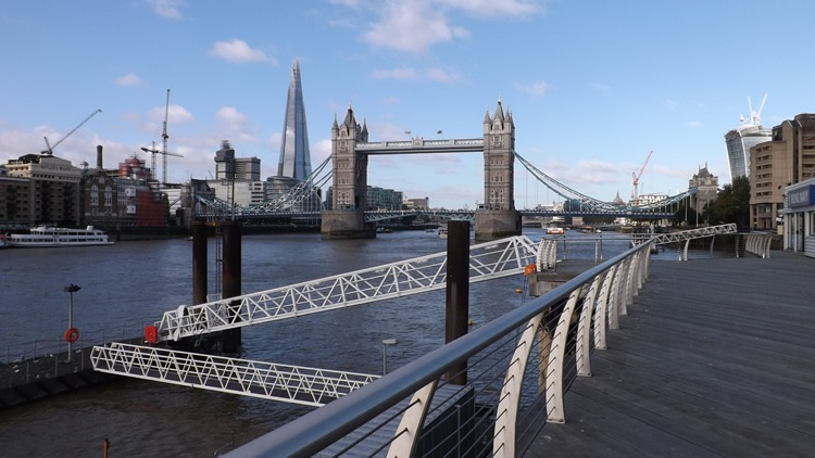 Decking area at H.M.S President at our Tower Hill Location with the view of Tower Bridge
