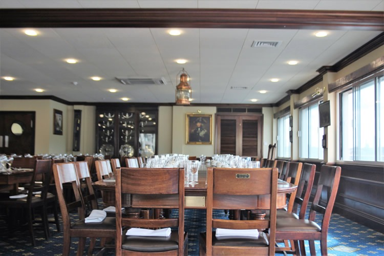 The Wardroom is a dining room which seats up to 90 people at H.M.S President, Tower Hill
