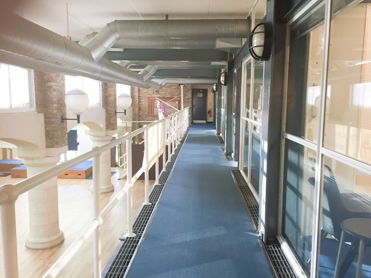 Corridor leading to the interconnecting classrooms at the Tower Hill Venue