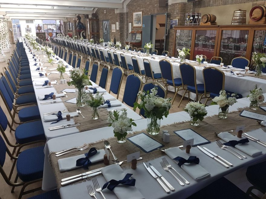 Wedding set up in Alternative Venues Tower Hill Venue, H.M.S President, St. Katherine Docks