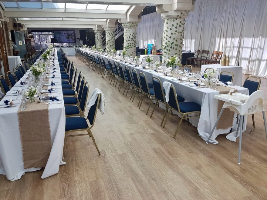 Wedding setup in the Drill Deck at HMS President, Royal Navy London Venue