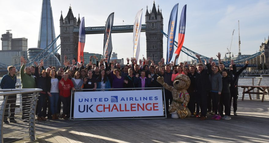 the UK challenge team with the view of tower bridge
