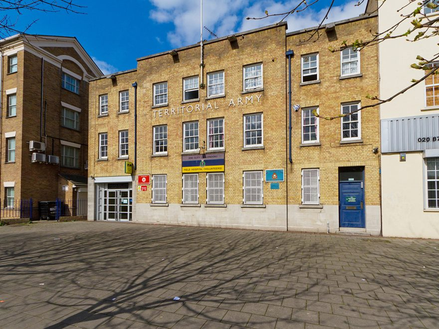 Mile End, Building Frontage, Filming, London Filming, Alternative Venues London, Military Venues, Military Locations, Space to Hire, FIlming Location, Photoshoot Location, London